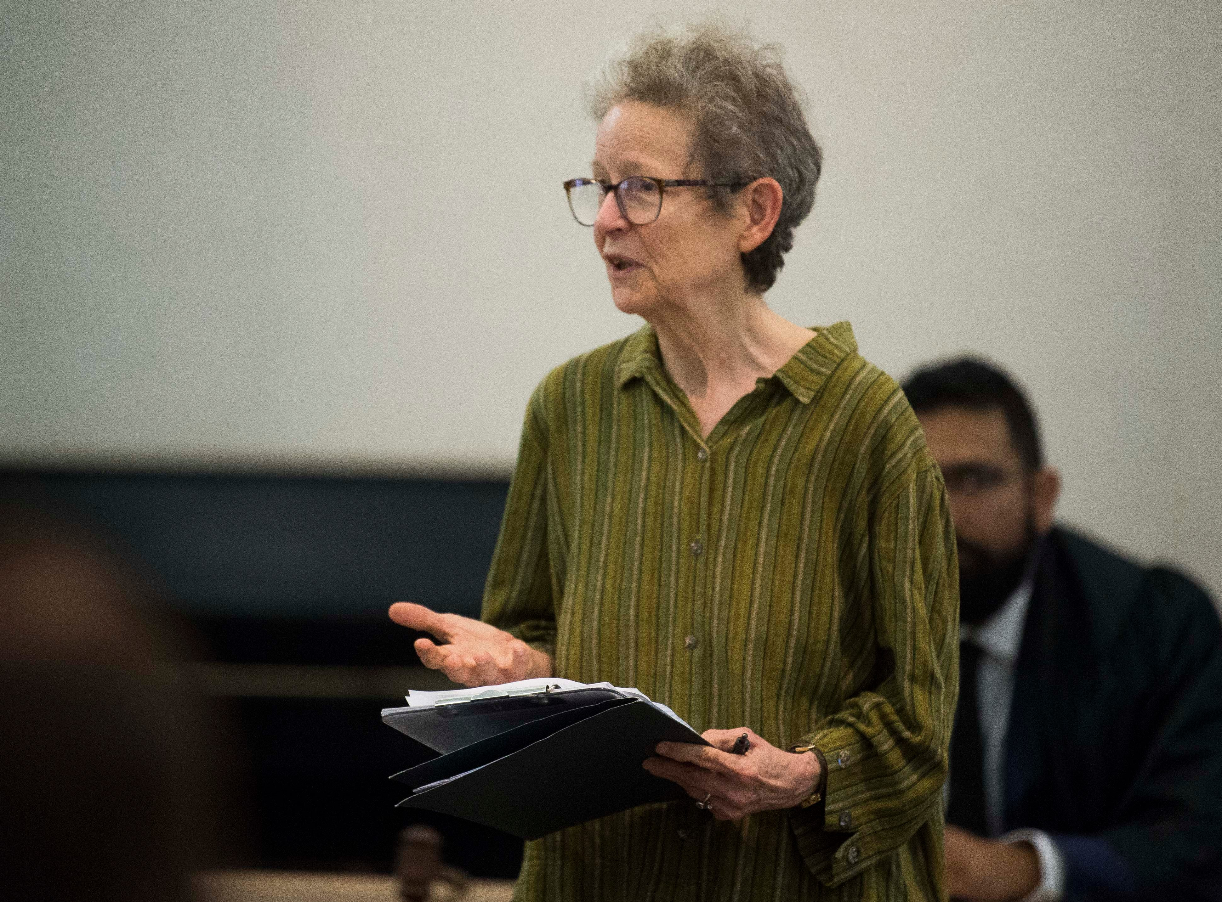 Fran Ansley speaks before a mock trial put on by Allies of Knoxville's Immigrant Neighbors, AKIN, at St. James Episcopal Church of Knoxville in Knoxville, Saturday, May 11, 2019. The court was part of the group's efforts to raise awareness about the negative effects of Knox County's 287(g) program, the only program of its kind in the state, which trains local officers to enforce federal immigration laws.
