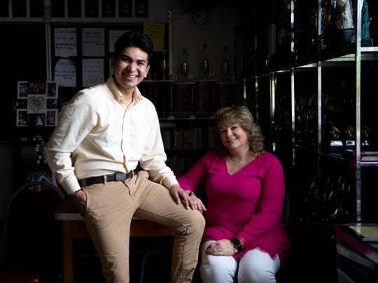 "She ""always saw my potential,"" Morristown West student Pedro Reyes, left, says of debate teacher Suzanne Terry."