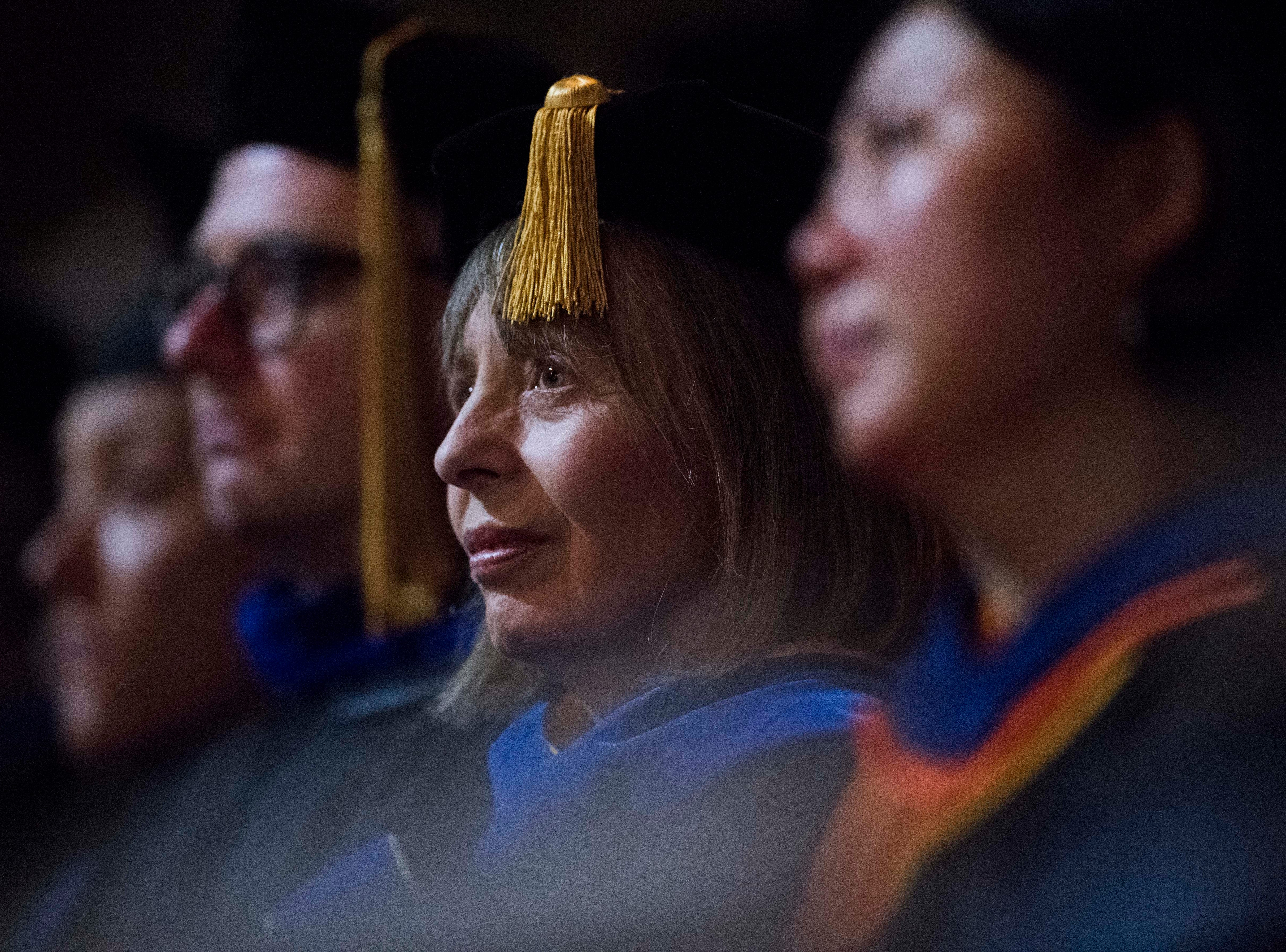 Faculty and staff sit during University of Tennessee's College of Arts and Sciences commencement in Thompson-Boling arena in Knoxville, Saturday, May 11, 2019.