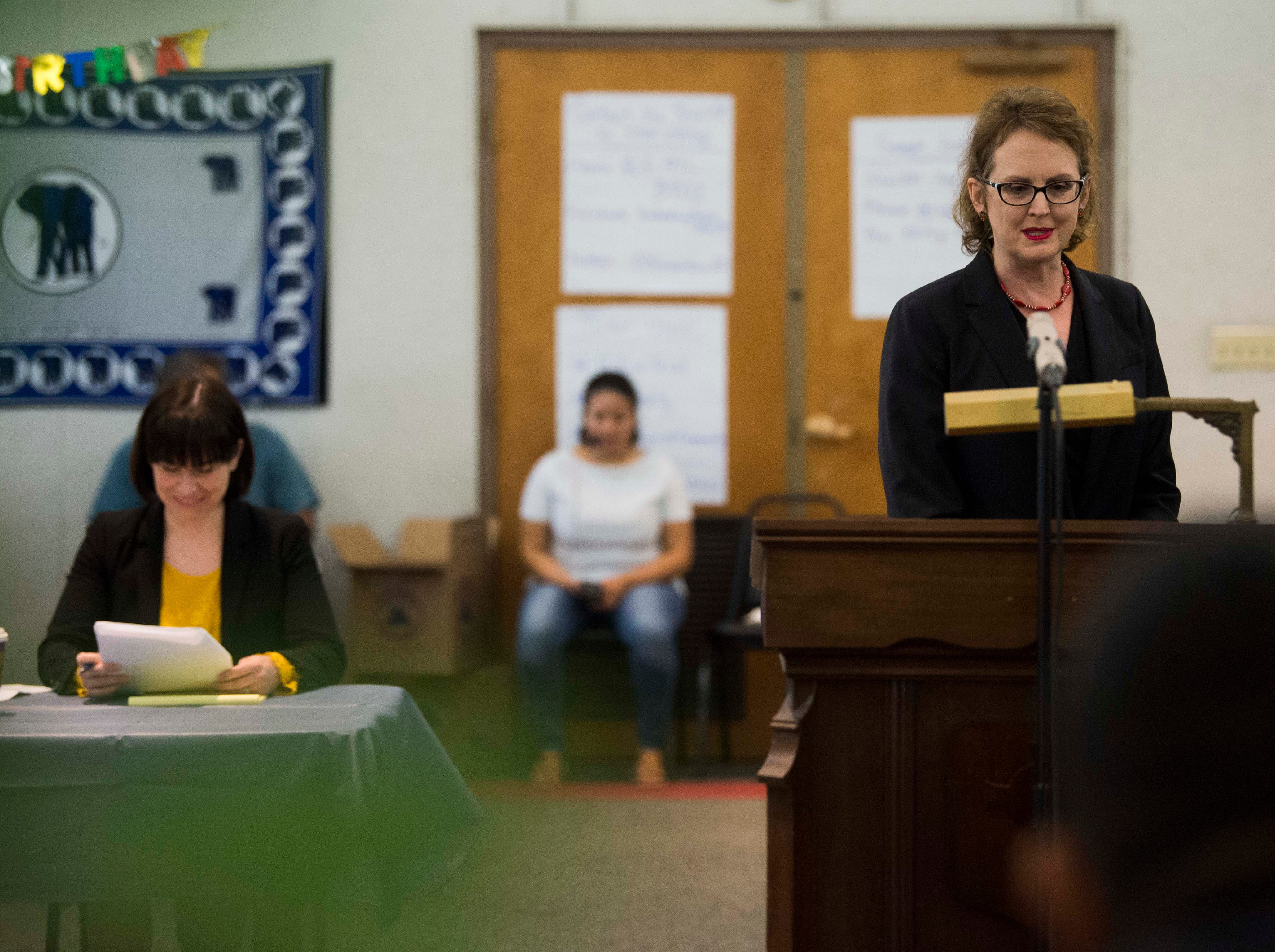 Julie Gautreau speaks during a mock trial of Allies of Knoxville's Immigrant neighbors at St. James Episcopal Church of Knoxville in Knoxville, Saturday, May 11, 2019. The court was part of the group's efforts to raise awareness about the negative effects of Knox County's 287(g) program, the only program of its kind in the state, which trains local officers to enforce federal immigration laws.
