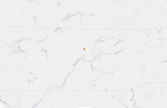 The epicenter of a 2.5-magnitude earthquake was just northwest of Coalfield on May 10, 2019.
