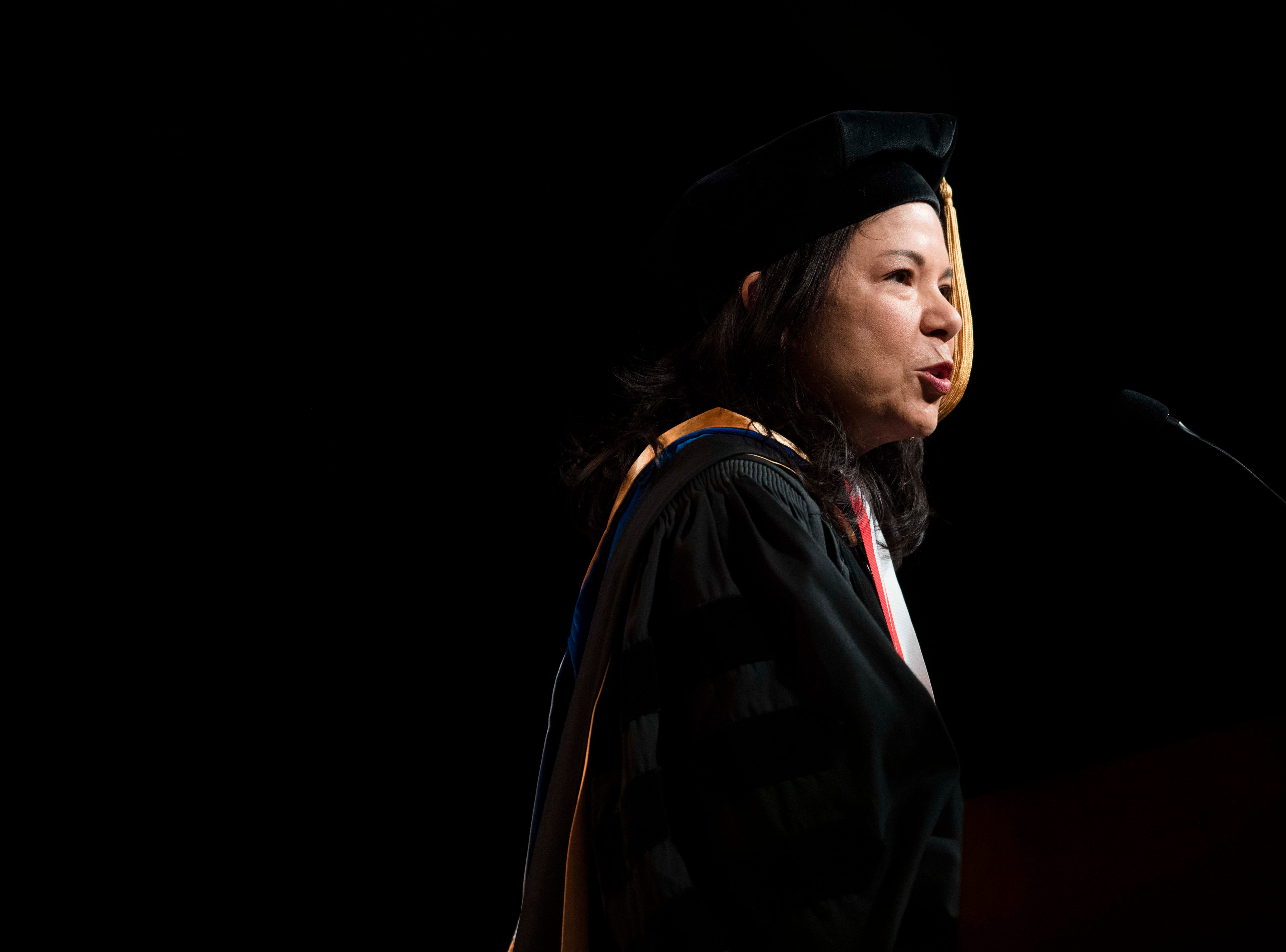 Commencement Speaker Nancy-Ann DeParle speaks during University of Tennessee's College of Arts and Sciences commencement in Thompson-Boling arena in Knoxville, Saturday, May 11, 2019.
