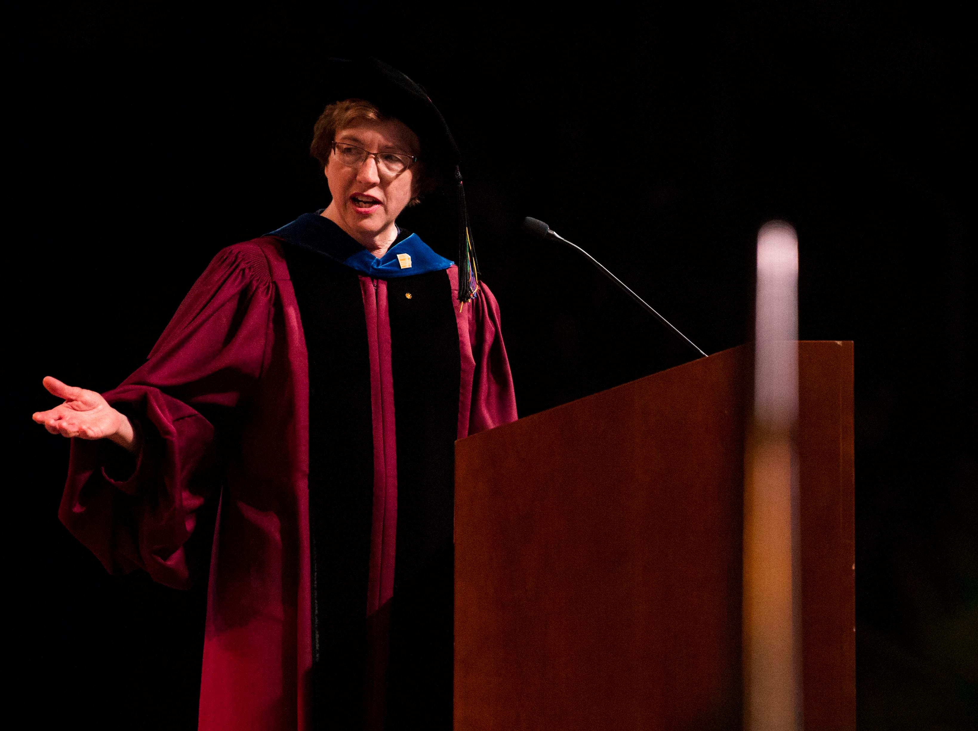 Dean of the College of Arts and Sciences Theresa Lee speaks during University of Tennessee's College of Arts and Sciences commencement in Thompson-Boling arena in Knoxville, Saturday, May 11, 2019.