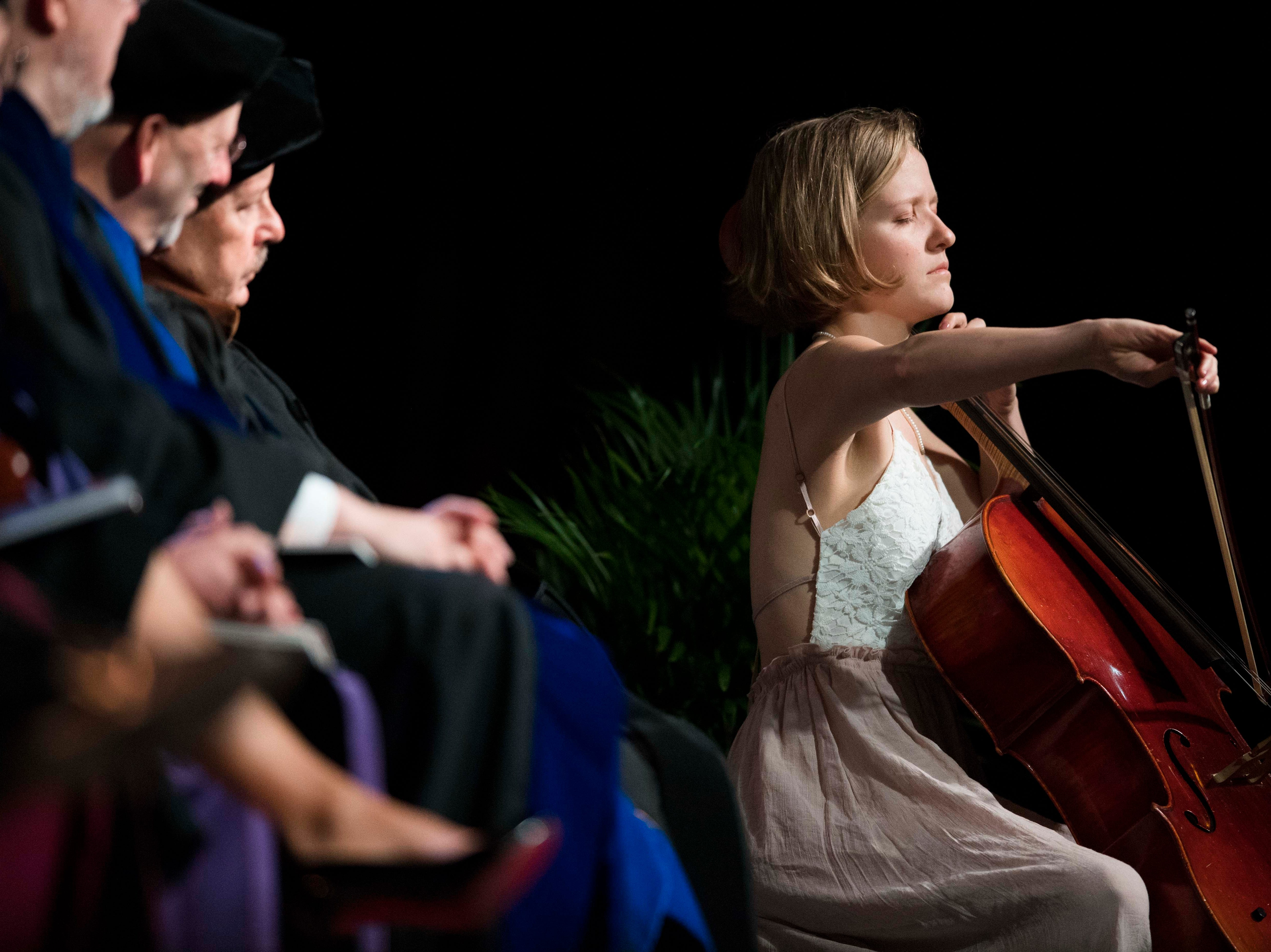"""Clara Johnson plays """"Reflections on the Waltz"""" during University of Tennessee's College of Arts and Sciences commencement in Thompson-Boling arena in Knoxville, Saturday, May 11, 2019."""