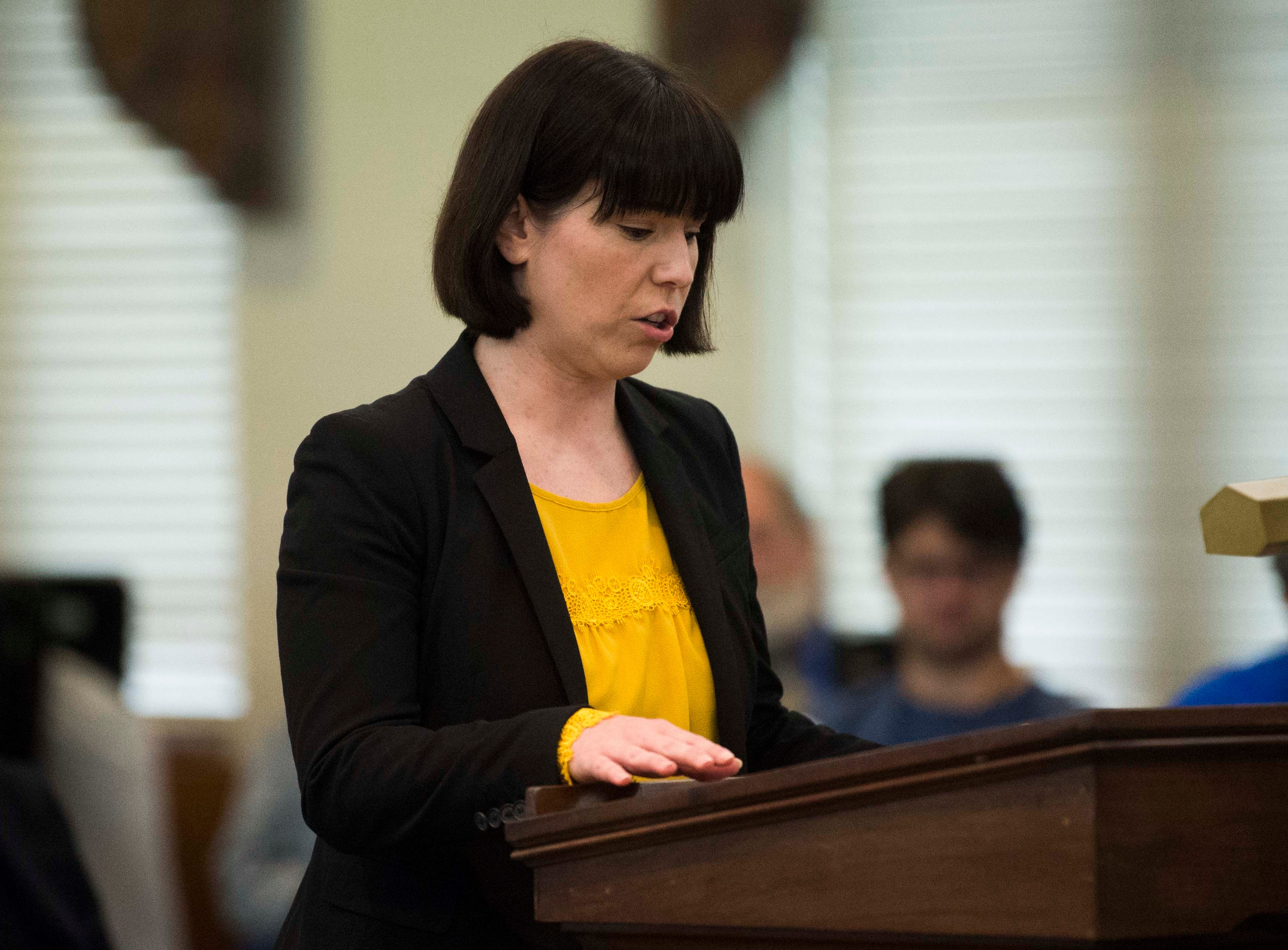 Christine Ball-Blakely  speaks during a mock trial put on by Allies of Knoxville's Immigrant Neighbors, AKIN, at St. James Episcopal Church of Knoxville in Knoxville, Saturday, May 11, 2019. The court was part of the group's efforts to raise awareness about the negative effects of Knox County's 287(g) program, the only program of its kind in the state, which trains local officers to enforce federal immigration laws.
