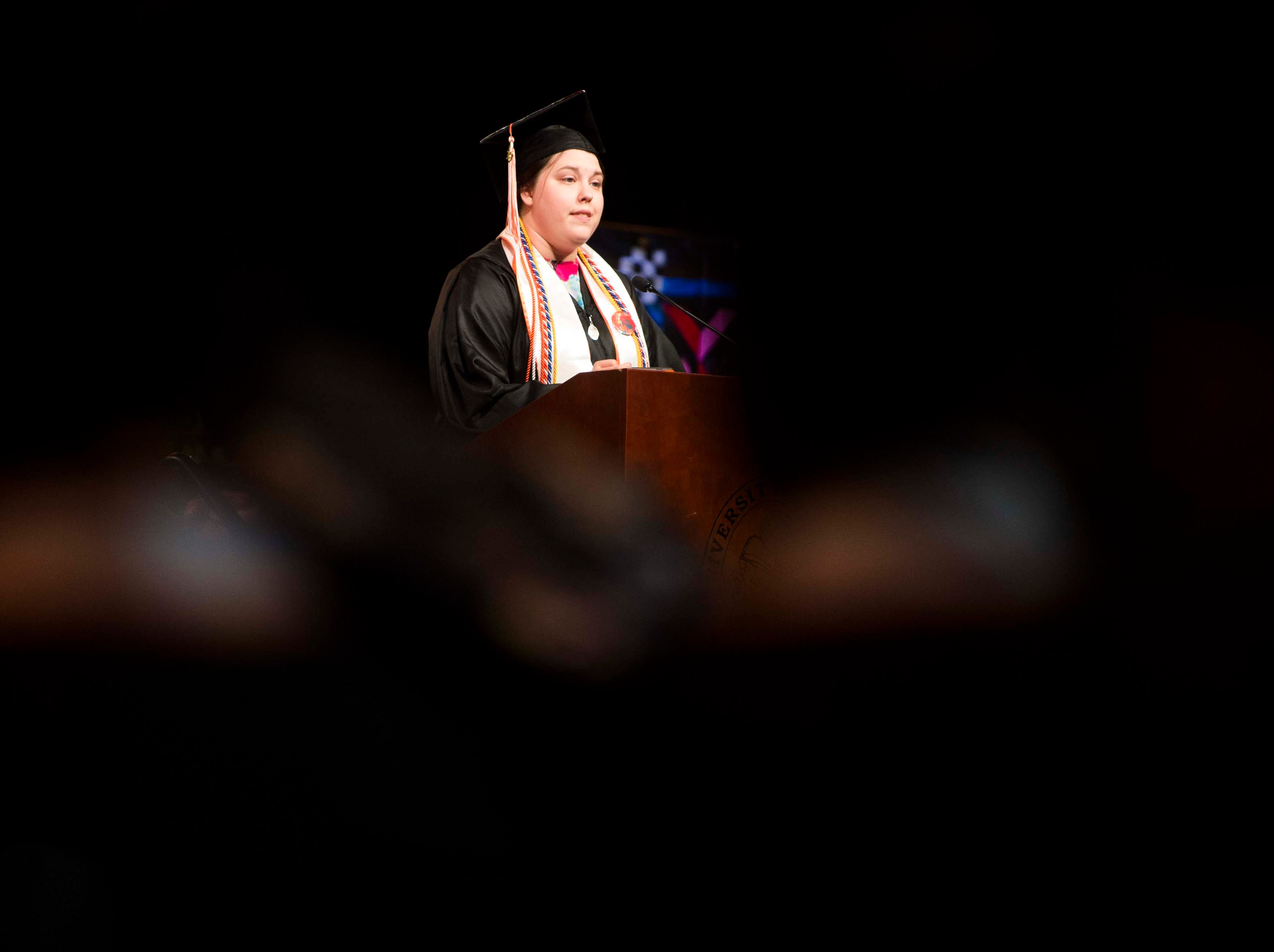 Hannah Nelsen speaks during University of Tennessee's College of Arts and Sciences commencement in Thompson-Boling arena in Knoxville, Saturday, May 11, 2019.