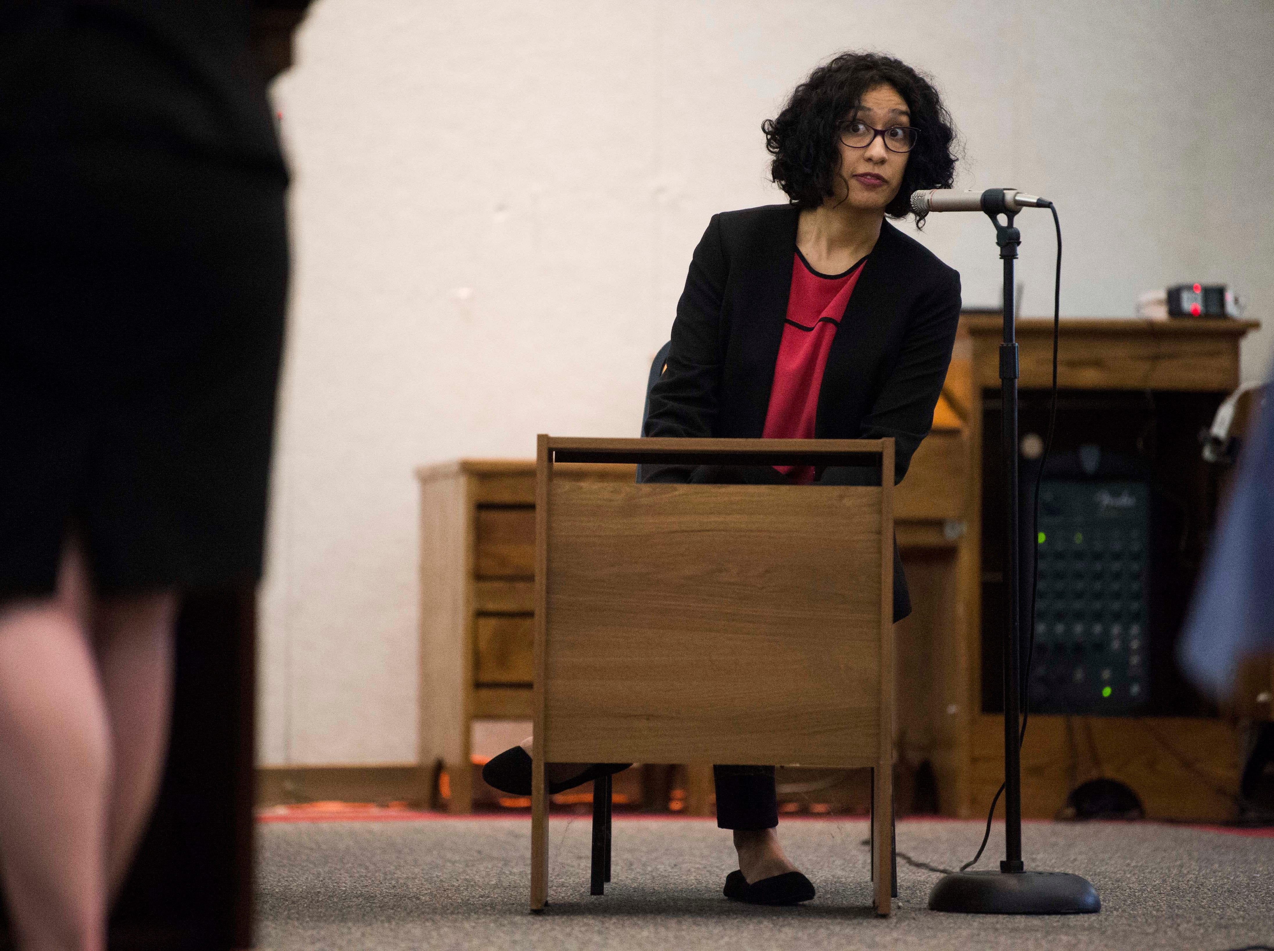 Arlene Amarante provides testimony during a mock trial of Allies of Knoxville's Immigrant neighbors at St. James Episcopal Church of Knoxville in Knoxville, Saturday, May 11, 2019. The court was part of the group's efforts to raise awareness about the negative effects of Knox County's 287(g) program, the only program of its kind in the state, which trains local officers to enforce federal immigration laws.