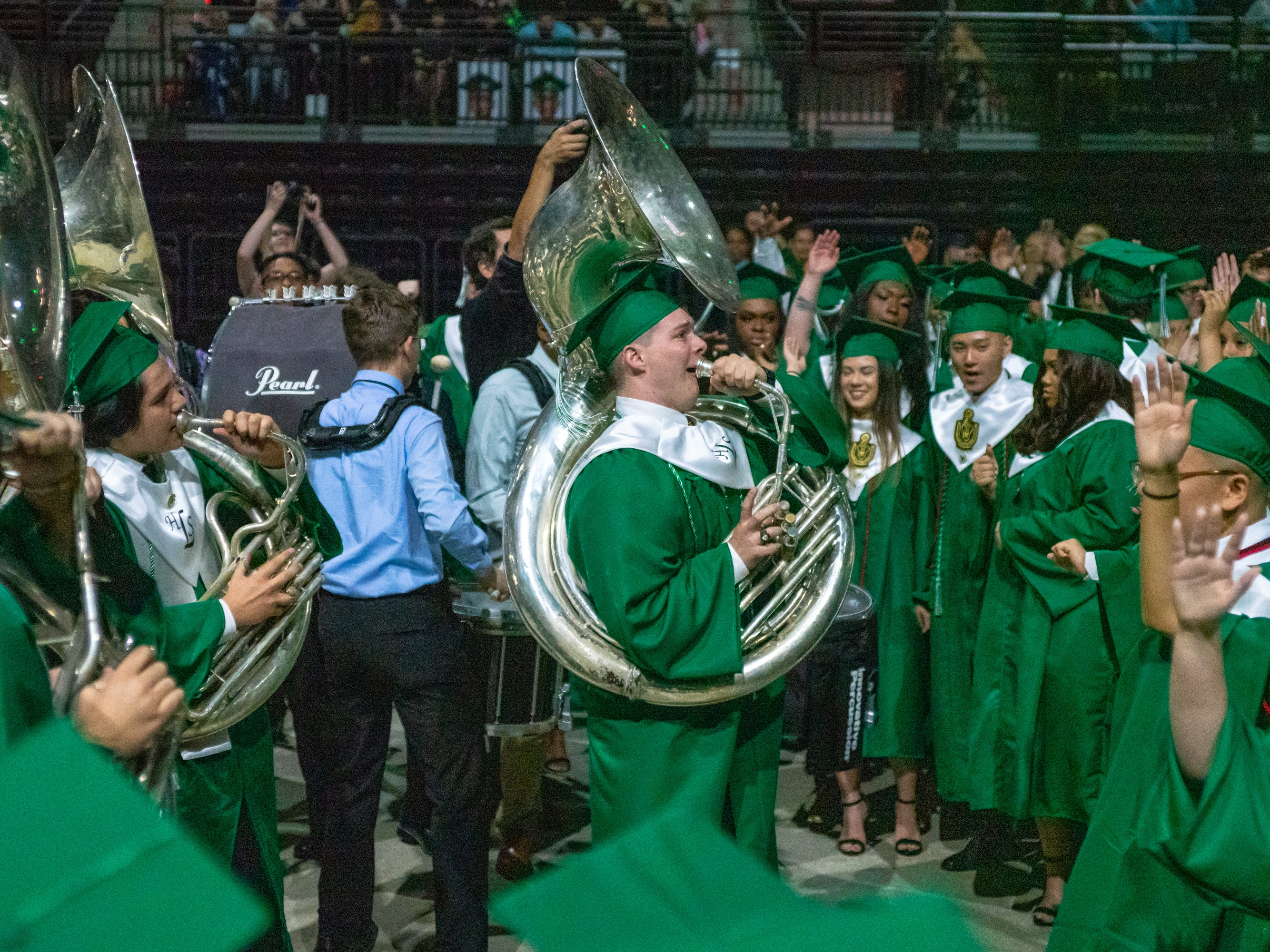 Lafayette high school's marching band performs during the ceremony as Lafayette High School holds its graduation ceremony at the Cajundome on Saturday, May 11, 2019.