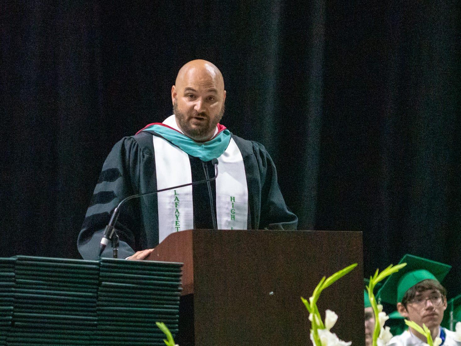 Lafayette High school's principal Dr. Donald Thornton speaks to the graduating seniors as Lafayette High School holds its graduation ceremony at the Cajundome on Saturday, May 11, 2019.