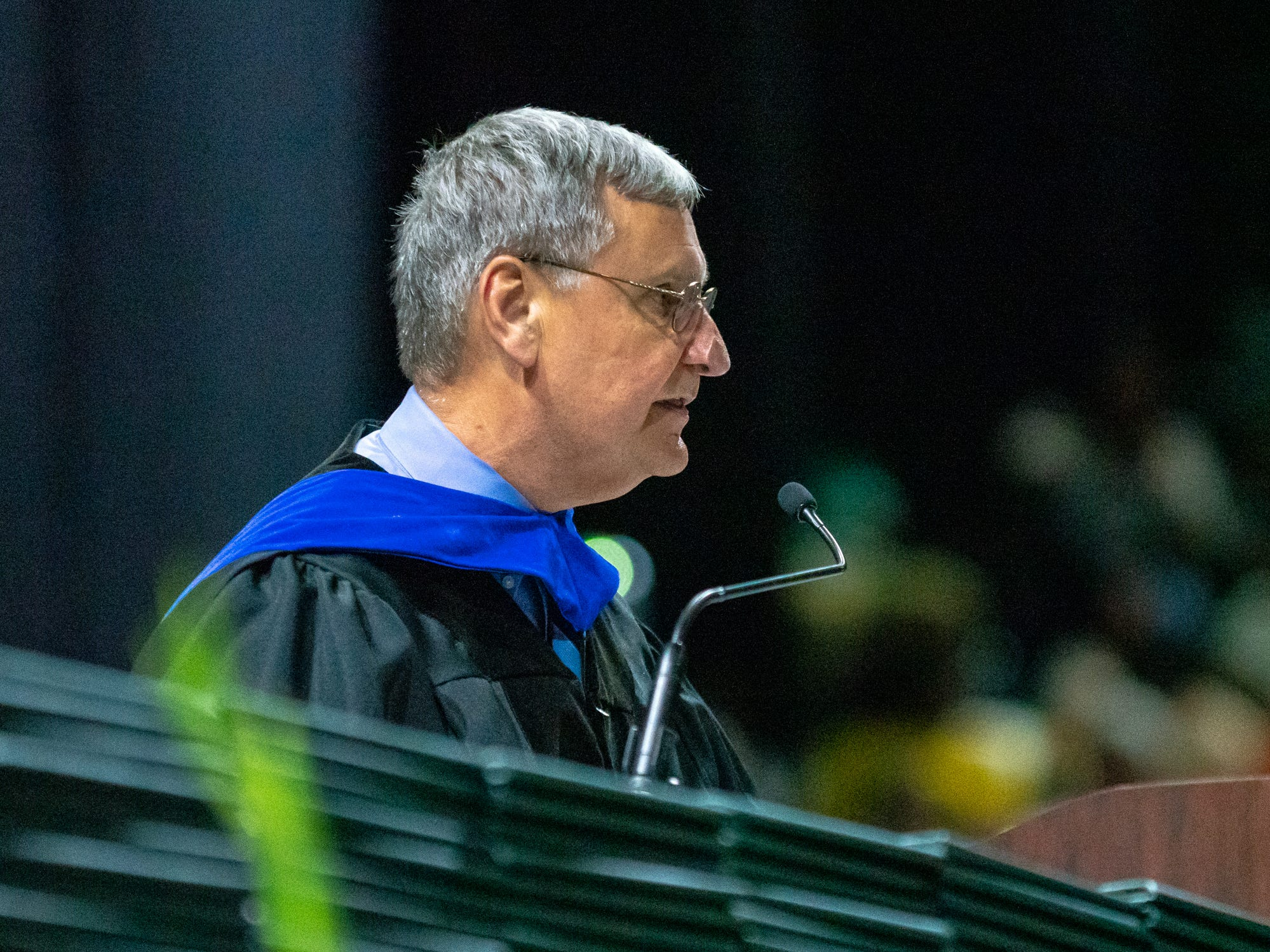 Superintendent Dr. Donald Aguillard gives a speech to the graduating seniors as Lafayette High School holds its graduation ceremony at the Cajundome on Saturday, May 11, 2019.