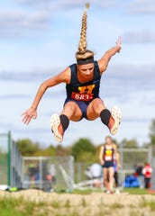 Hartland's Lindsey Strutz won the long jump, was second in the high jump and was sixth in the shot put in the KLAA track and field meet on Friday, May 10, 2019.
