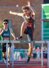 Brighton's Brenden Edoff was second in the 300-meter hurdles, fourth in the 110 hurdles, anchored the winning 1,600 relay team and was on the second-place 800 relay team in the KLAA track and field meet on Friday, May 10, 2019.