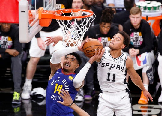 Former MSU standouts Gary Harris, right, and Bryn Forbes, left, met in the first round of the NBA playoffs last month. They're part of a solid MSU alum NBA roster.