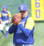 Ontario's Isaac Baldridge came in relief and tossed seven strong innings, earning the win as the Warriors clinched a share of the MOAC title.