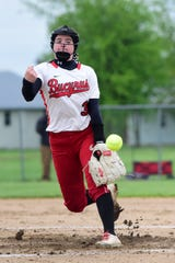 Bucyrus pitcher Caleigh Rister launches a fastball Friday during the team's 3-0 road victory over Crestview.