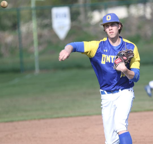 Ontario's Matt Weaver had four hits, three doubles and a single, in the Warriors' MOAC championship clinching win.