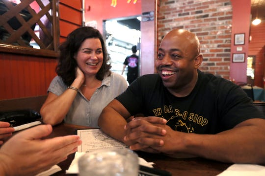 Bar-B-Q Shop owner Eric Vernon chats with Gannett food writers Brad Schmitt of The Tennessean and Jennifer Chandler of The Commercial Appeal during their tour of Memphis barbecue on Friday, May 10, 2019.