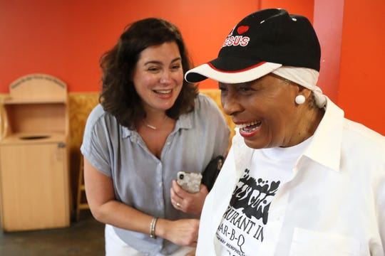 Desiree Robinson, owner of Cozy Corner, shares a laugh with Jennifer Chandler of The Commercial Appeal during a tour of Memphis barbecue on Friday, May 10, 2019.