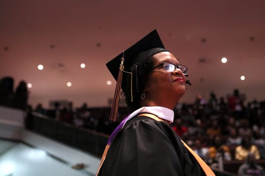 Alison Turner, 59, graduates from LeMoyne-Owen College with three degrees after 40 years working through interruptions raising a family, finding the money to pay for school and working and health issues. The school's spring graduation commencement was held at Mt. Vernon Baptist Church-Westwood on Saturday, May 11, 2019.