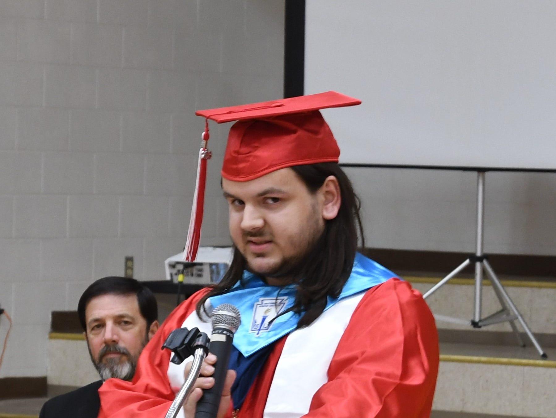 Flippin valedictorian Zachary Billiot address the crowd at Friday night's graduation ceremony.
