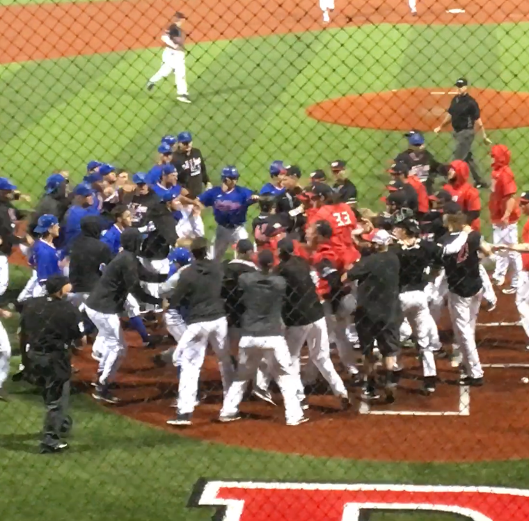 Baseball brawl: Benches clear after final out of LA Tech-WKU