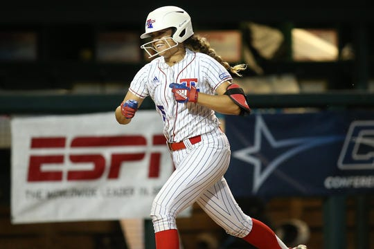 Louisiana Tech senior centerfielder Jazlyn Crowder (5) runs bases during the 2019 Conference USA Softball Tournament at Mary Bowers Field in Birmingham, Ala.