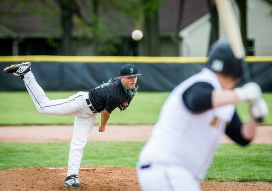 Yorktown's Robby Hook pitches against Daleville during their game at Yorktown High School Saturday, May 11, 2019.