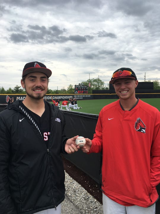FILE -- Ball State pitchers John Baker, left, and Luke Jaksich combined to throw the program's first nine-inning no-hitter.