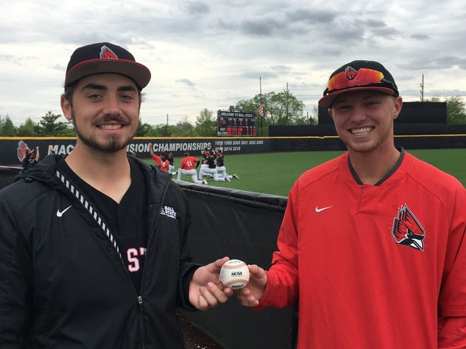 Ball State pitchers John Baker, left, and Luke Jaksich combined to throw the program's first nine-inning no-hitter on Saturday against Ohio.