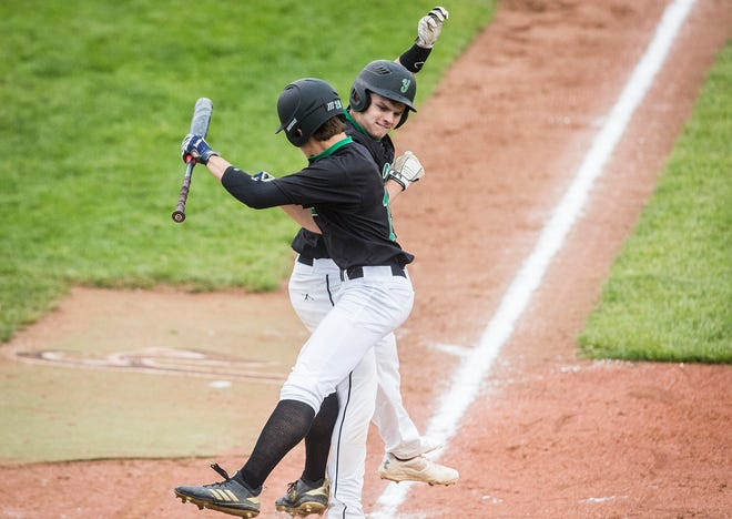 FILE -- Gehrig Smalstig hit a home run for Yorktown on Friday in the Blackford Sectional semifinals.