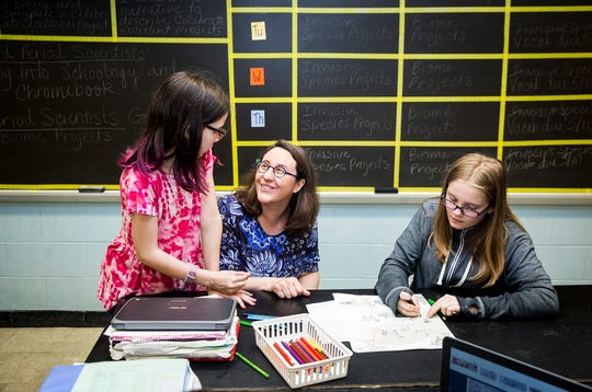 Sixth-grade science teacher Erica Collins in her classroom at Northside Middle School. Collins won the BBF award for Teacher of the Year.