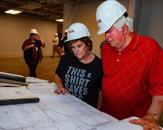 Murfreesboro school board members Roseann Barton and Butch Campbell look over construction drawings of Salem Elementary, on Friday, May 10, 2019.