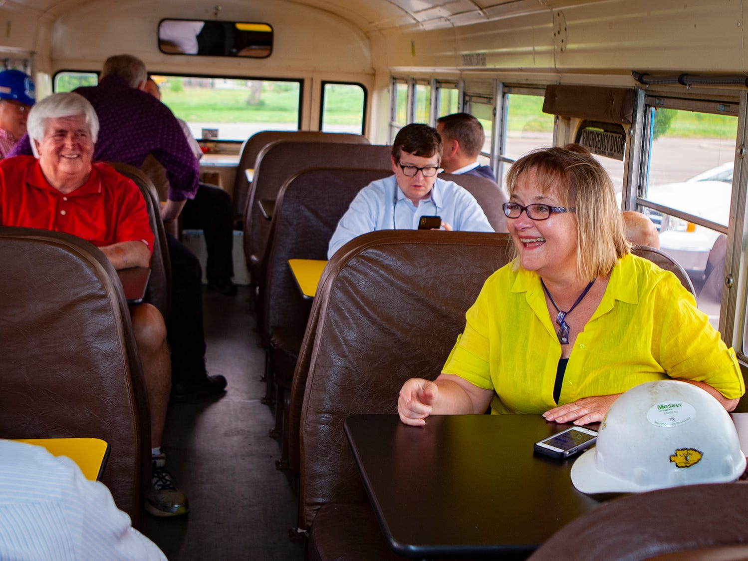 Murfreesboro City Schools communications director Lisa Trail talks while on bus to tour Salem Elementary. Murfreesboro City Schools' 13th campus will open in July 2019.