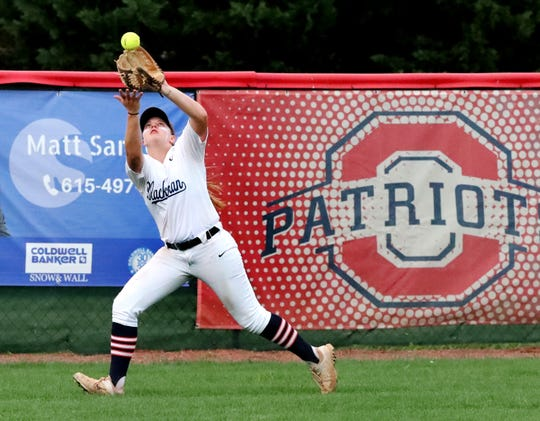Blackman's Kendall Andrews (13) makes a catch and an out in the outfield during the 7-AAA District Championship game against Siegel at Oakland on Friday, May 10, 2019.