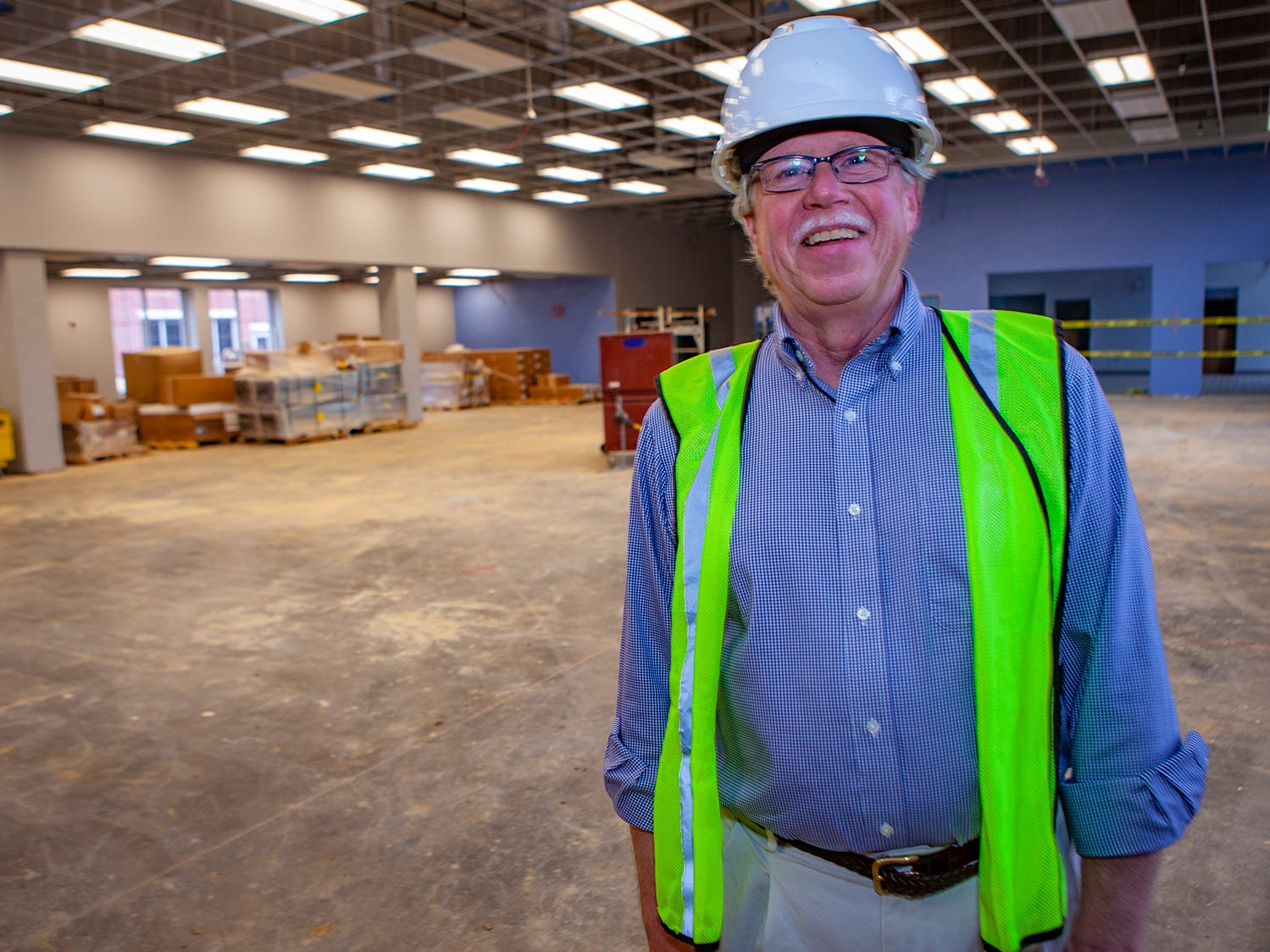 Project Architect Jim Pettit stands inside the cafeteria at Salem Elementary. Murfreesboro City Schools' 13th campus will open in July 2019.