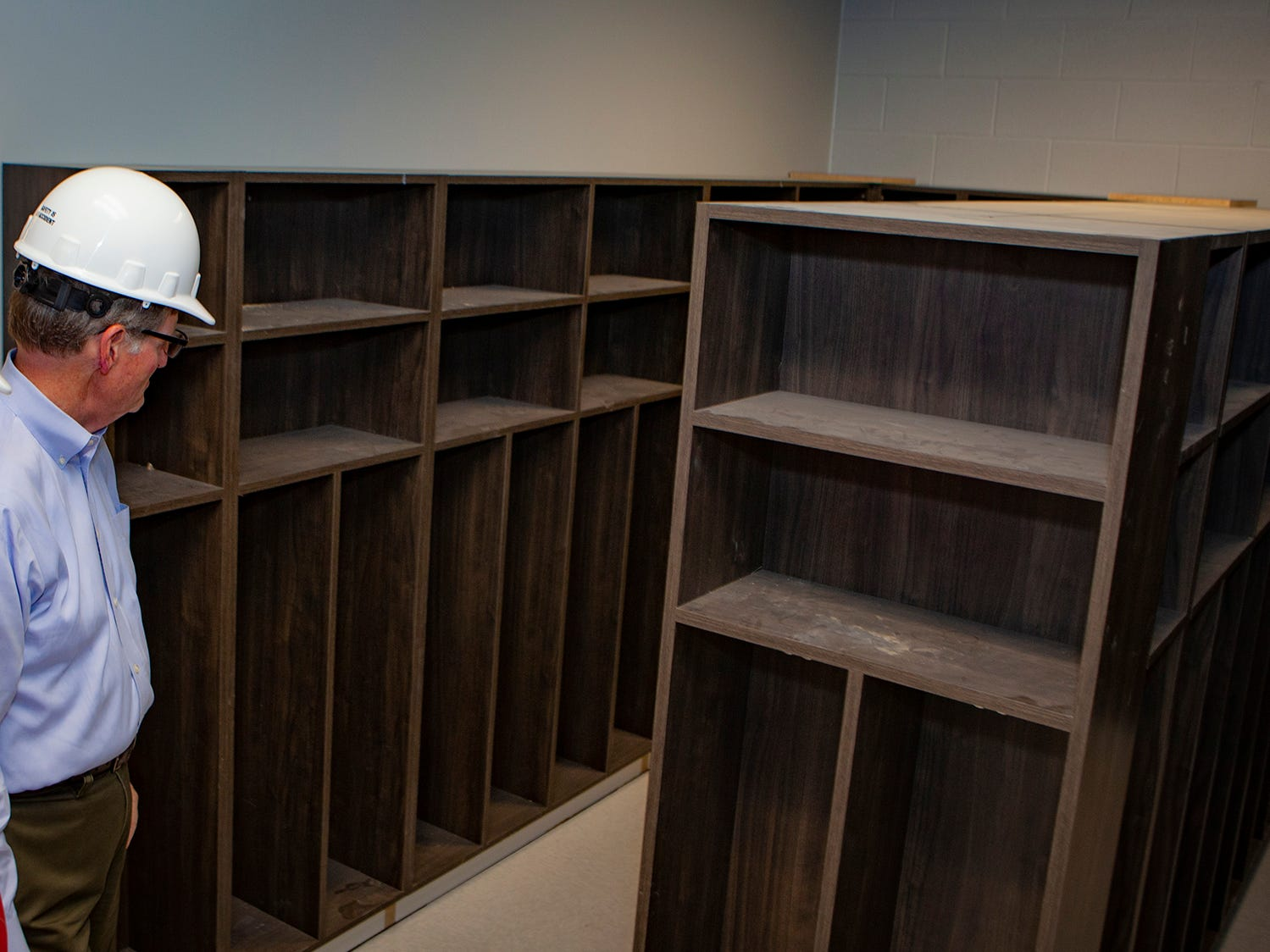 Inside a cubby room where Salem Elementary students will store their belongings. Murfreesboro City Schools' 13th campus will open in July 2019.