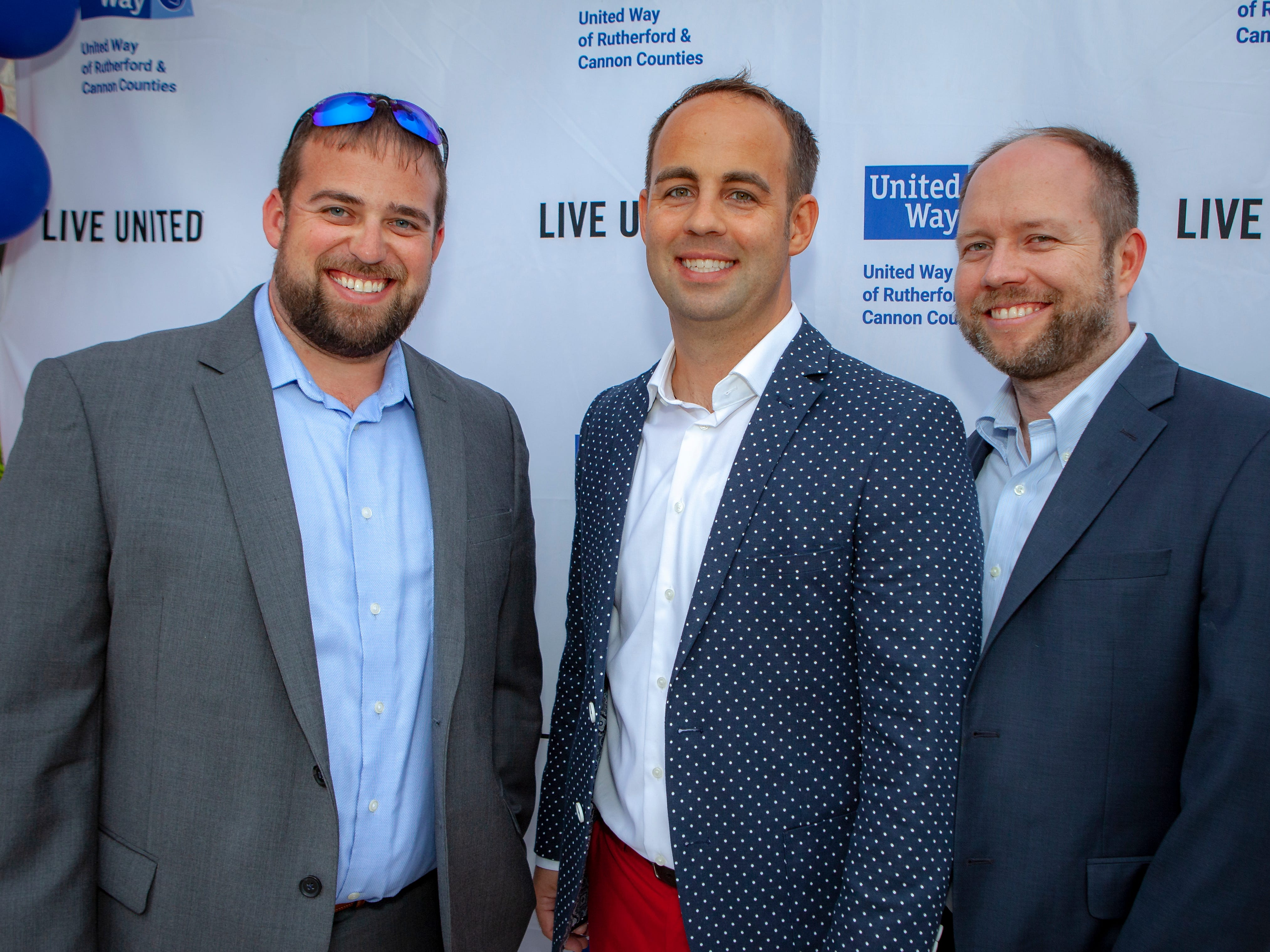 Josh Kirby, Jay Cash and Chris Canary enjoyed a Cajun feast under the stars at United Way's Red, White and Bayou, held Friday, May 10, 2019 at the home of Jimmy & Nikkole Aho.