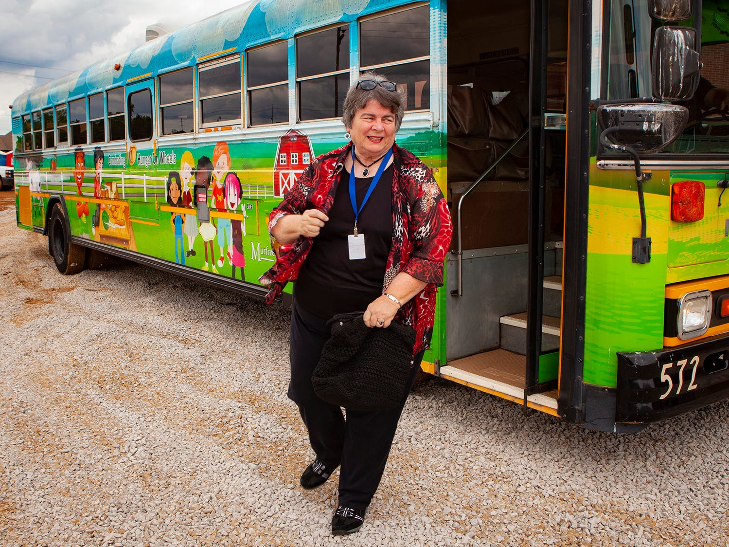 Linda Gilbert steps off the CHOW Bus for a construction tour of Salem Elementary. Murfreesboro City Schools' 13th campus will open in July 2019.