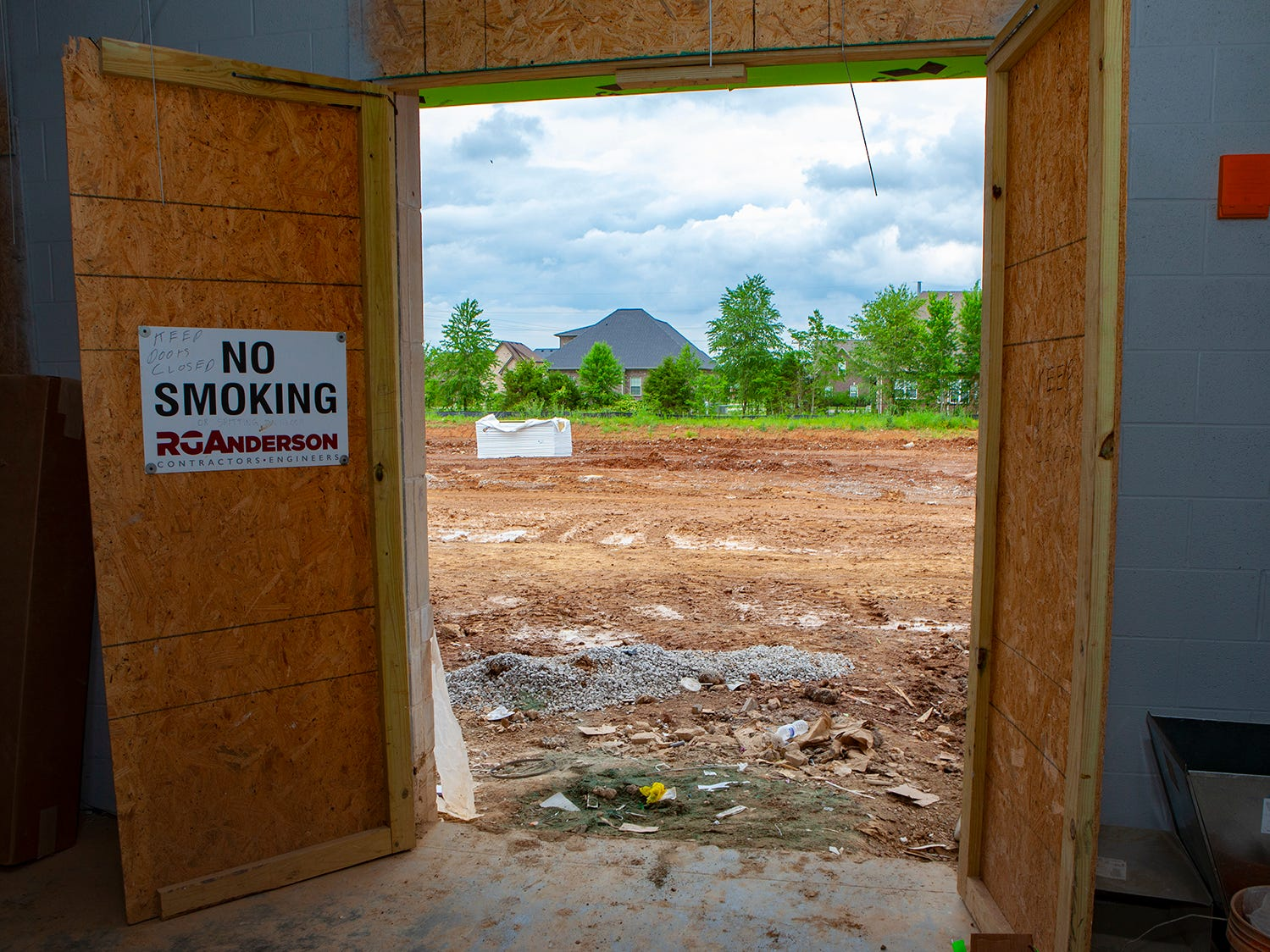 The view from the bus room where Salem Elementary students will arrive and exit. Murfreesboro City Schools' 13th campus will open in July 2019.