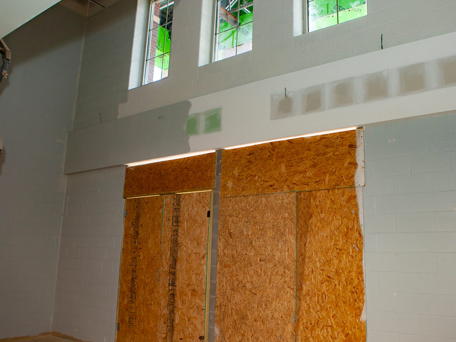 The front door of Salem Elementary, Murfreesboro City Schools' 13th campus, is still boarded. The school will open in July 2019.