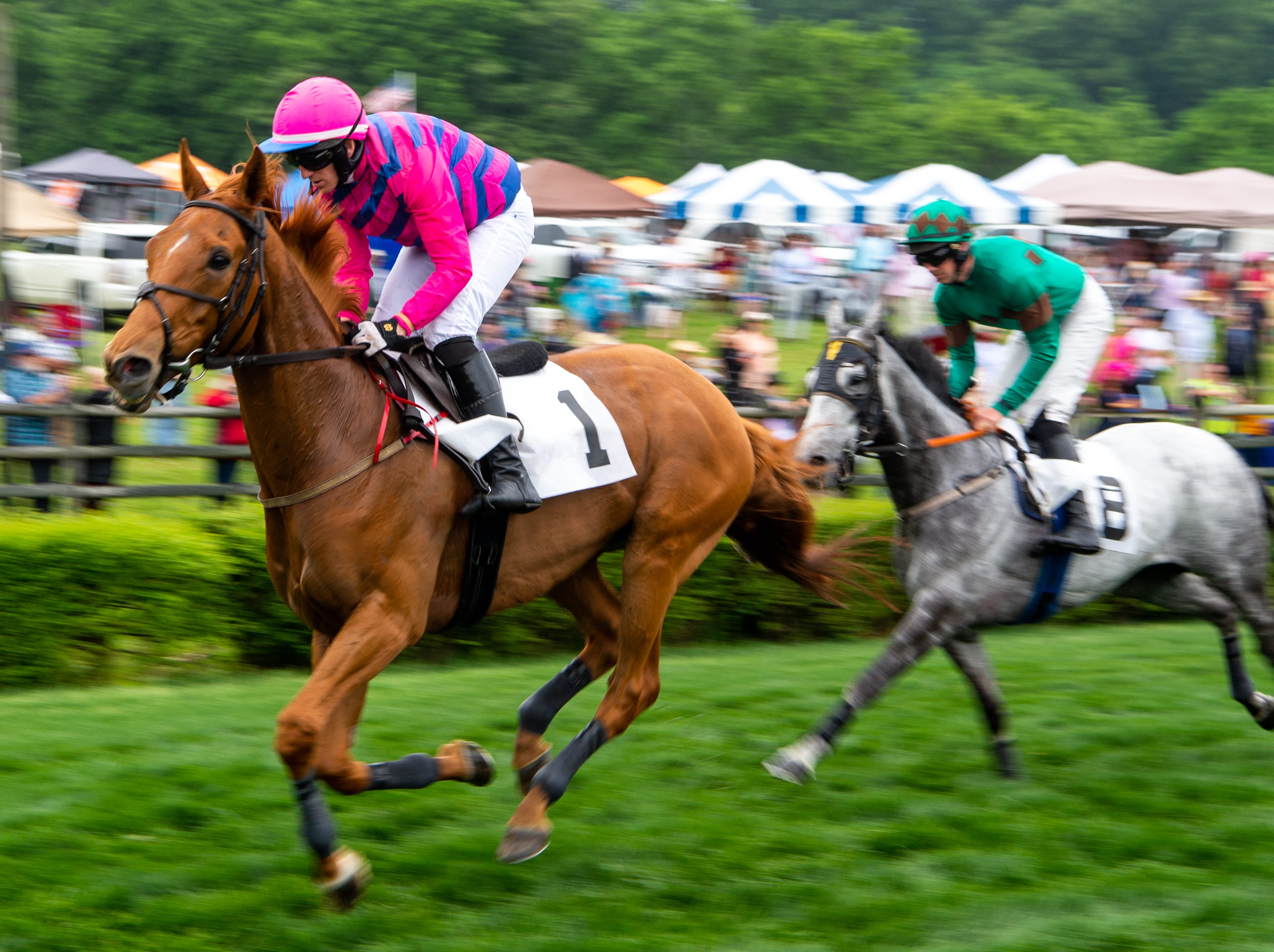 Barry Foley rides Boss Man during the third race of the Iroquois Steeplechase at Percy Warner Park Saturday, May 11, 2019, in Nashville, Tenn.