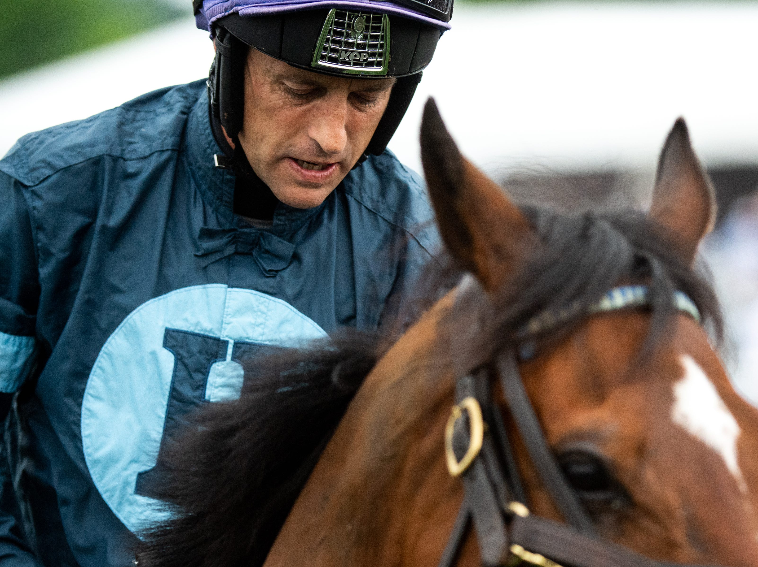 Ross Geraghty prepares to race with Surprising Soul during the final race of the Iroquois Steeplechase at Percy Warner Park Saturday, May 11, 2019, in Nashville, Tenn.