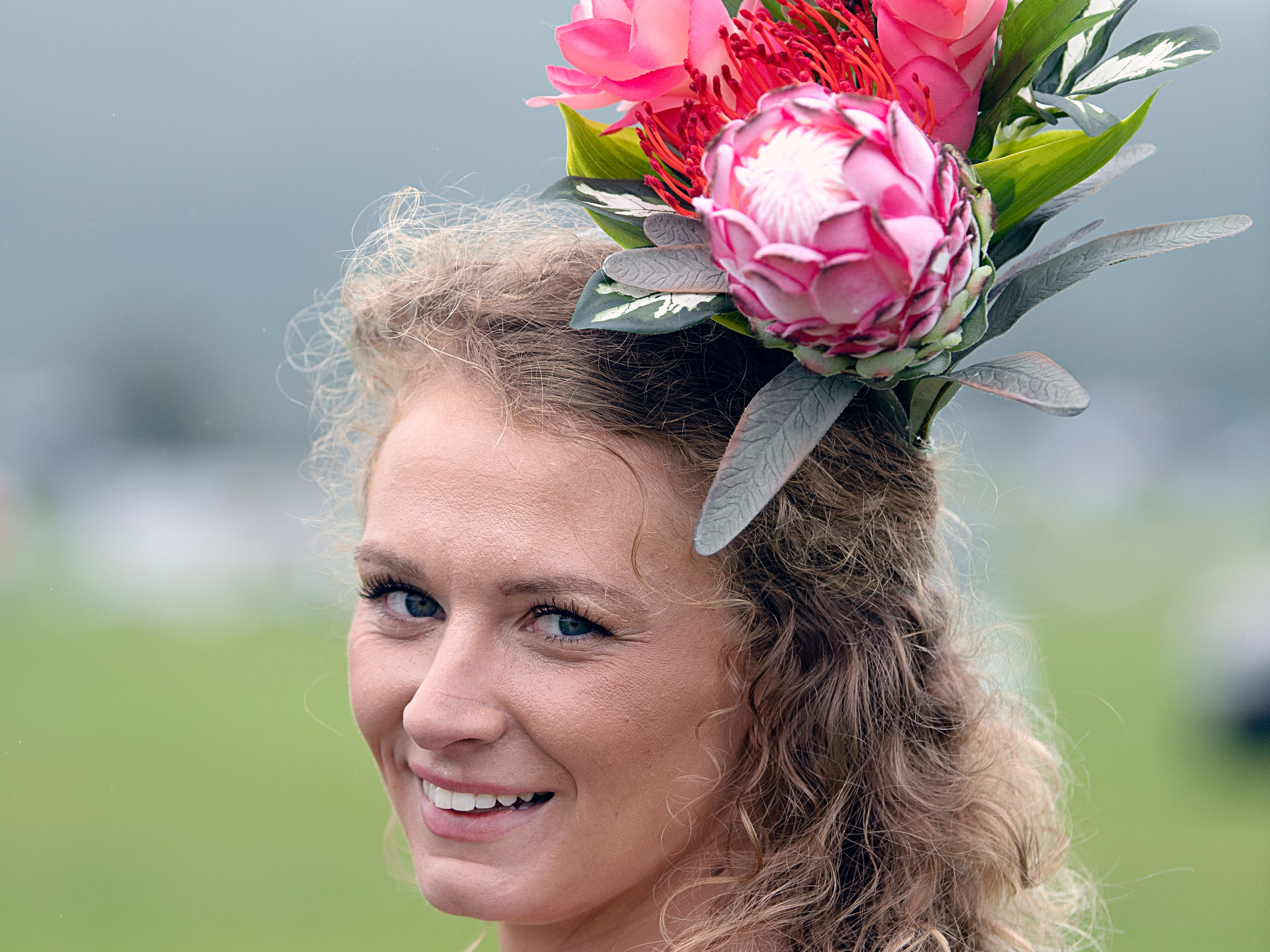 Evane Stoner handmade her fascinator for the 78th Iroquois Steeplechase at Percy Warner Park in Nashville on Saturday May 11, 2019.