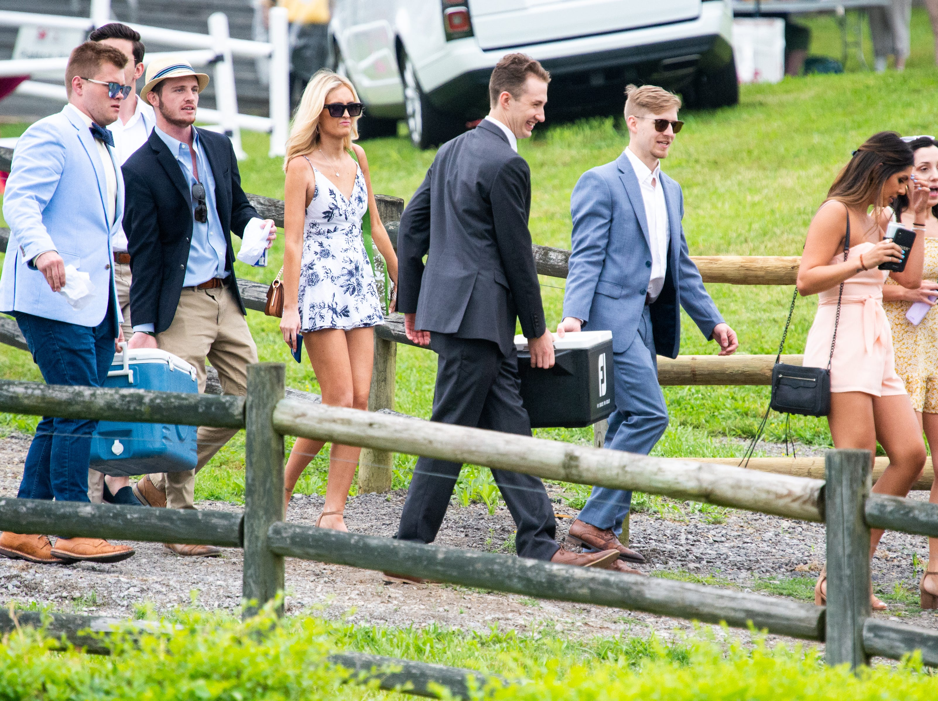 Fans arrive to the Iroquois Steeplechase at Percy Warner Park Saturday, May 11, 2019, in Nashville, Tenn.