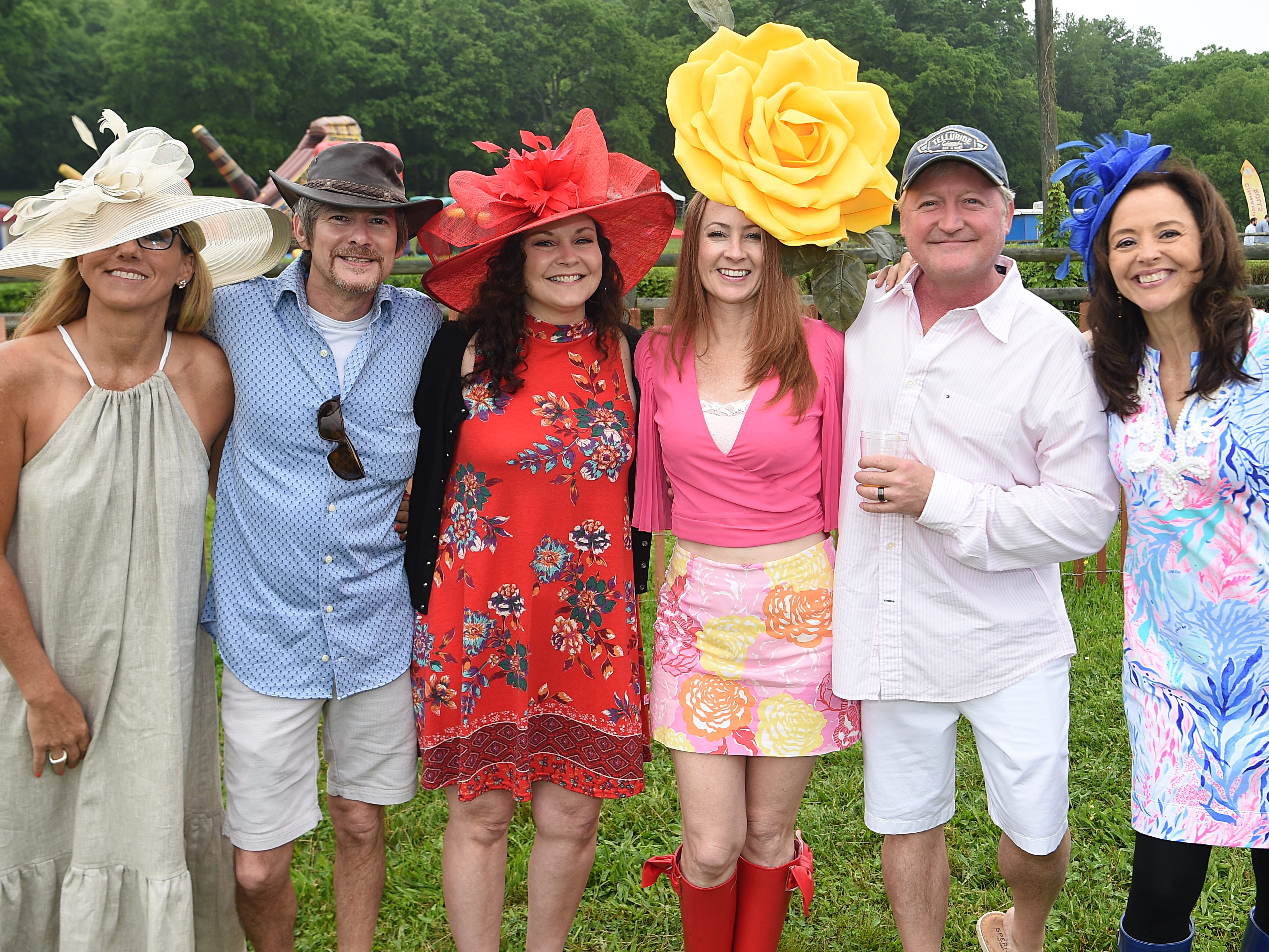 Penny M Crain, Ron Morales, Nickie Greer, Jill Adkins, Felix Simmons, and Leah Totty at the 78th Iroquois Steeplechase at Percy Warner Park in Nashville on Saturday, May 11, 2019.