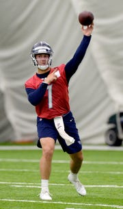 Tennessee Titans quarterback Brent Stockstill passes during NFL football rookie minicamp Saturday, May 11, 2019, in Nashville, Tenn.