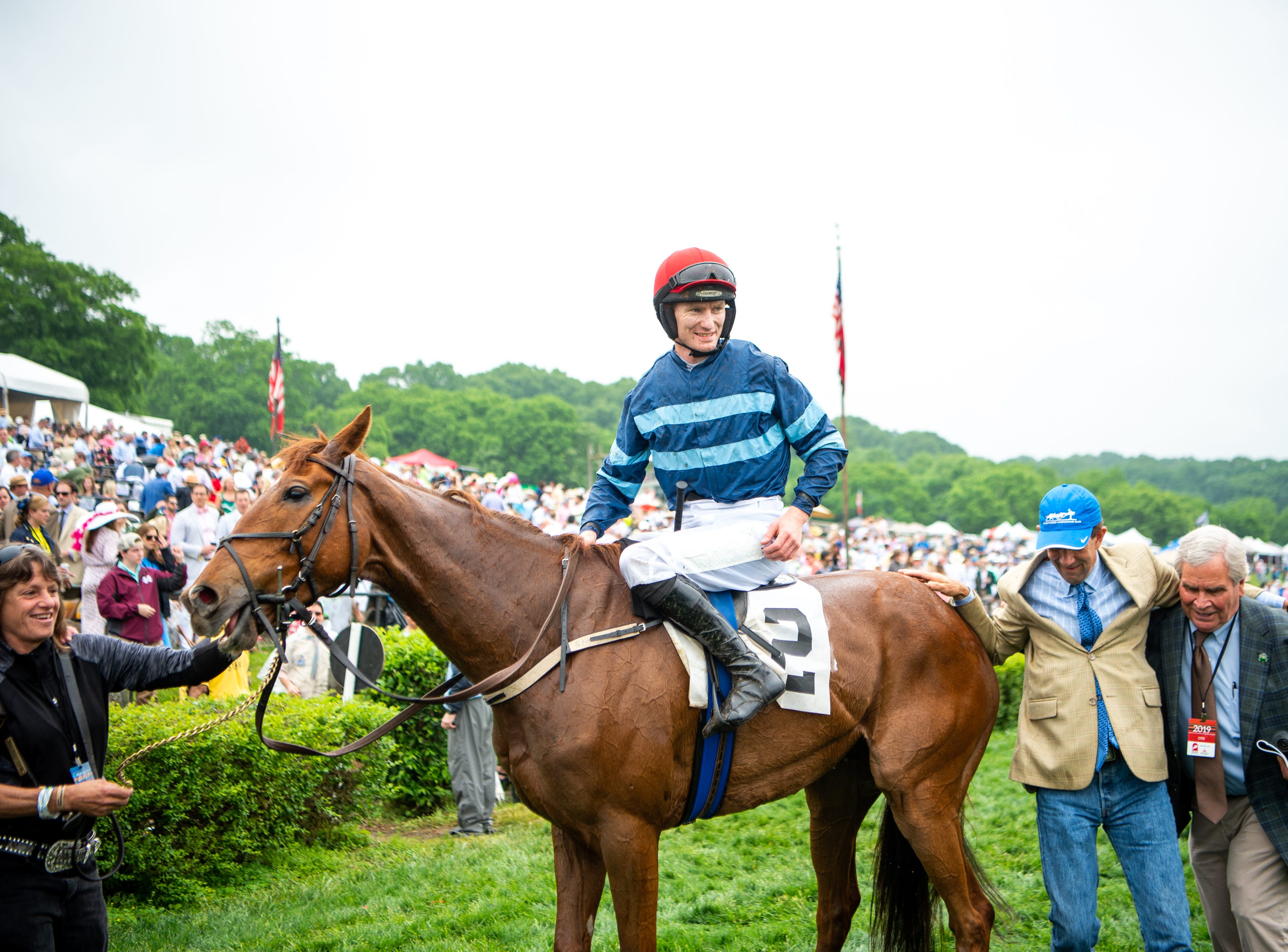 Sean McDermott celebrates with City Dreamer after winning the third race of the Iroquois Steeplechase at Percy Warner Park Saturday, May 11, 2019, in Nashville, Tenn.