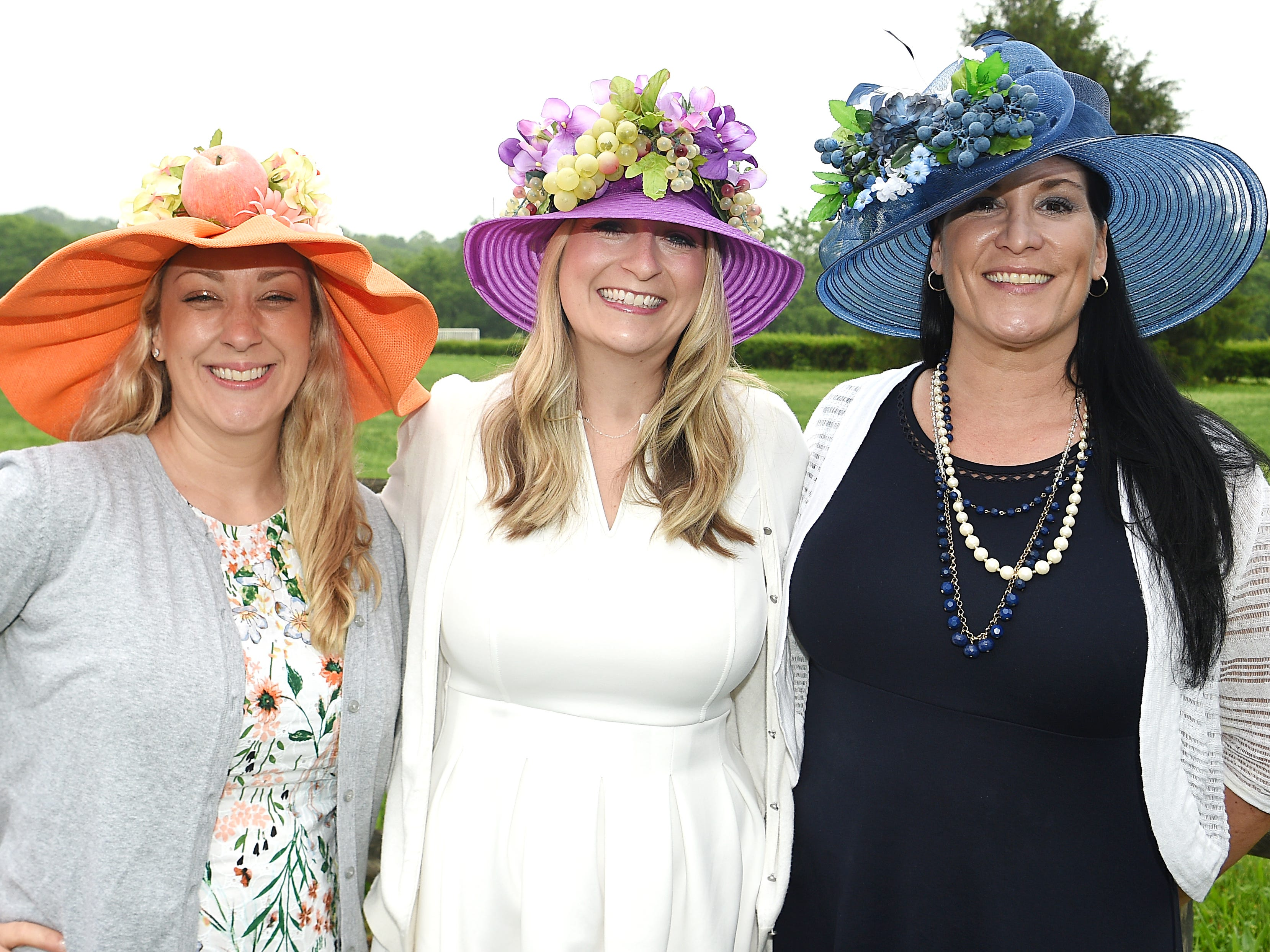 Casey Williams, Amanda Hurley, and Diana Sanderson at the 78th Iroquois Steeplechase at Percy Warner Park in Nashville on Saturday, May 11, 2019.