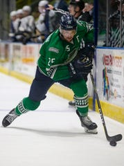 Florida Everblades forward John McCarron moves the puck against the Newfoundland Growlers during Game 1 of the ECHL Eastern Conference Finals, Friday, May 10, 2019, at Hertz Arena in Estero.