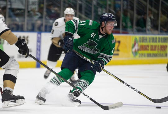 Florida Everblades forward Blake Winiecki moves the puck during Game 1 of the ECHL Eastern Conference Finals against the Newfoundland Growlers. Winiecki scored the game-winner in Game 3 on Wednesday.